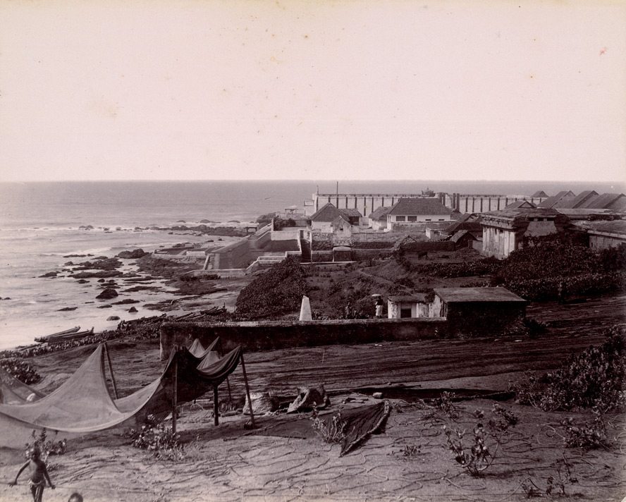 [View of the village, shrine and headland at] Cape Comorin [Kanniyakumari].